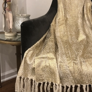 Spura Poaci Metallic Print Throw Gold